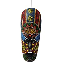 Woodenclave Multicolour African Hand Carved Decorative Mask for Wall Decor Room Décor