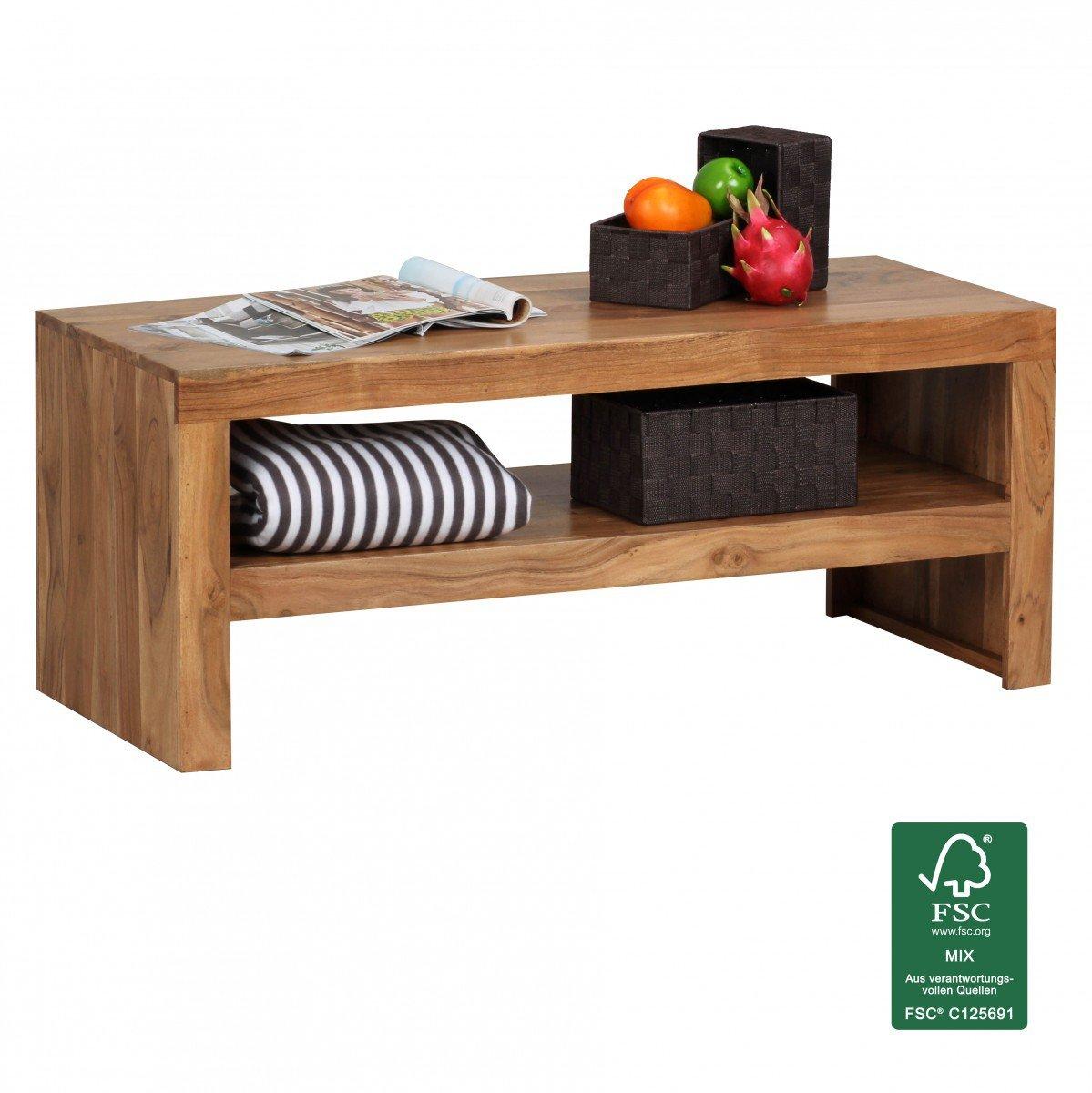 Wohnling Couchtisch Massiv Holz Sheesham 110 Cm Breit Wohnzimmer Tisch Design Landhaus Stil Beistelltisch Natur Produkt Wohnzimmermbel Unikat Modern