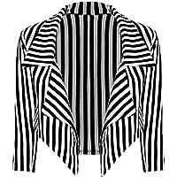 New Womens Black White Striped Crop Waterfall Blazer Ladies Casual Jacket Coat Stripe Blazer, Black and White Stripe, S…