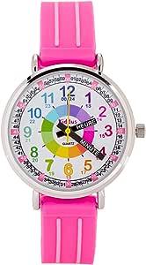 KIDDUS Montre Bracelet Éducative pour Enfants, Fille. Time Teacher Analogique avec Exercices. Mécanisme en Quartz Japonais. Facile d'Apprendre à Lire l'Heure