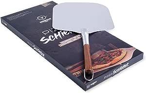 Moesta-BBQ 10039 - Pala per pizza n. 1, pratica pala da 66 cm, in alluminio, con manico in legno, per grigliare o forno per pizza come nel forno in pietra
