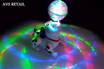 Toyvala Plastic Cute Dancing Battery Operated Dog Toy with Reflected 3D Lights and Wonderful Music for Kids (Multicolour)