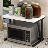 Home-Neat Étagère de cuisine sur pieds pour micro-ondes Étagère métallique en bois et acier, avec 2 tablettes, env. 57 x 38 x