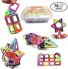 URXTRAL blocchi magnetici per costruzioni, 76 pezzi Costruzioni Magnetiche, gioco DIY 3D per costruzioni con blocchi magnetici modelli design magnetico, Creativi Educativi Kit Imparare Colori e Forme, Regalo di Natale Compleanno Giocattoli per I Bambino