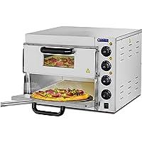 Royal Catering Forno Elettrico Professionale per Pizza 350°C a Due Ripiani per Ristorante Camion di Cibo 230V 3000W 59x56x43cm Acciaio Inox