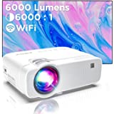 Mini Beamer WiFi-Projector, ABOX Draadloze Projector, 6000 Lux ondersteunt 1080P Full HD Video Beamer, 70000 uur LCD Projecto
