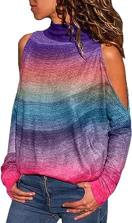 YOINS Maglia Donna Camicetta Casuale Maniche Lunghe Maglietta con Spalla Fredda T-Shirt con Collo Alto Pullover a Righe Felpe