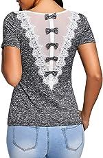 Bekleidung Longra Longra Damen Blusen mit Spitze Bluseshirt Hemdblusen Damen Mode Frühling Langarmshirts Schöne Oberteile für Damen Spitzenbluse Grün