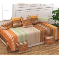 FESTIVAL HOME FURNISHINGS Polycotton 400TC Diwan Set (60X90 Inch Bedsheet 16x16inch Cushion Covers 18x28 inch Bolster Covers) Golden Stripes