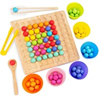 Montessori Jeu de plateau en bois pédagogique – Jeu de perles à clip en bois – Jouet à mémoire de forme – 27,3 × 20,7…