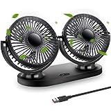 STLOVe Ventilateur USB Mini Fan Double Tête Rotation 360 ° 3 Vitesses Ventilateur Portable Convient pour Voiture/Tableau/Bure