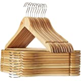 RYLAN Solid Wood Natural Finish Garment Hangers with Non-Slip Bar and Precisely Cut Notches, 360 Degree Swivel Chrome Hook, H