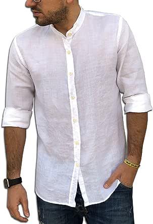 CAMICIE & dintorni Camicia Puro Lino Coreana TG. S, M, L, XL, XXL, 3XL - Slim - Uomo - Manica Lunga Art. A20