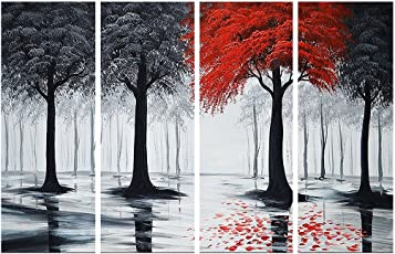 SAF MODERN PREMIUM LARGE 4 PANEL PAINTING Ink Painting(24 inch x 36 inch)