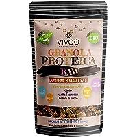 VIVOO RE-EVOLUTION | GRANOLA PROTEICA RAW - PROTEINE DI MANDORLE - gusto MANDORLA E CACAO|Biologico, Raw | Senza Zuccheri aggiunti | No: glutine, Latticini, Soia, OGM | Confezione 150 g cad.