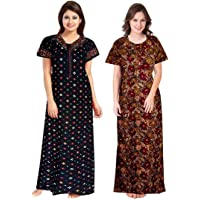 KBNBJ Womens Cotton Printed Nighty Combo Pack of 2, Free Size - Blue & Brown Color