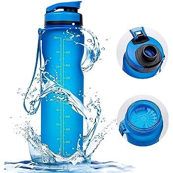 1000ml Sport Trinkflasche - Vsllcau Tritan (BPA FREE) Sportflasche Wasserflasche Auslaufsichere Fahrradflasche Bottle mit Brüste für Outdoor Reise Sport Wanderung Fitness