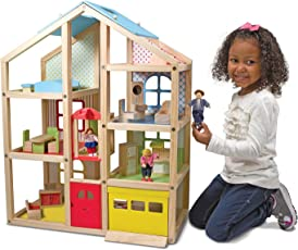 Melissa & Doug Hi-Rise Dollhouse and Furniture Set, Multi Color