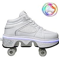 DHTOMC Scarpe con Rotelle Pattini A Rotelle Retrattile Retrattile 4 Ruote LED Skateboard Sneakers Scarpe Sportive con…