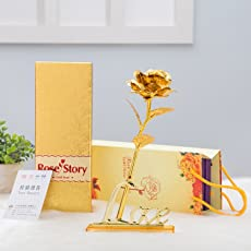 International Gift Gold Rose 25 Cm With Love Stand (25 Cm, Gold)
