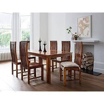 Lifeestyle Handcrafted Sheesham Wood 6 Seater Dining Set (Honey Medium)