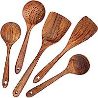 AOOSY Ustensiles de Cuisine,5 pcs Ensemble d'ustensiles de cuisine japonais en bois Outils Ensembles d'ustensiles…