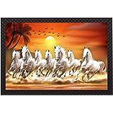 Saumic Craft Seven Running Horses Vastu Sunrise Landscape Animals Scenery UV Coated Framed Painting for Home Decoration and G