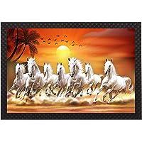 Saumic Craft Seven Running Horses Vastu Sunrise Landscape Animals Scenery UV Coated Framed Painting for Home Decoration…