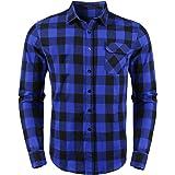 Sykooria Camisas a Cuadros de Franela para Hombre, Blusa de Manga Larga, Cuadros clásicos, Blusas con Estilo Casual, Ajuste R