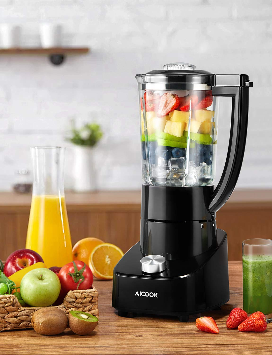 Standmixer-Glas-Smoothie-Maker-mit-15L-Glasbehlter-700W-Mixer-Smoothie-Maker-mit-2-Geschwindigkeiten-und-Rostfreiem-Titan-Klinge-Ice-Crusher-Schwarz