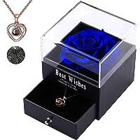 Rose Eternelle Avec Bijoux, Love You Collier boîte à Bijoux, Idee Cadeau Anniversaire Saint Valentin Mariage Fete des…
