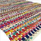 Eyes of India - 2 X 3 ft to 6 X 9 Pieds Blanc Plein de Couleurs Tissé Chindi Carpette Multicolore Tapis Boho Bohème Indien - Multi, 3 X 5 ft. (91 X 152 cm)...