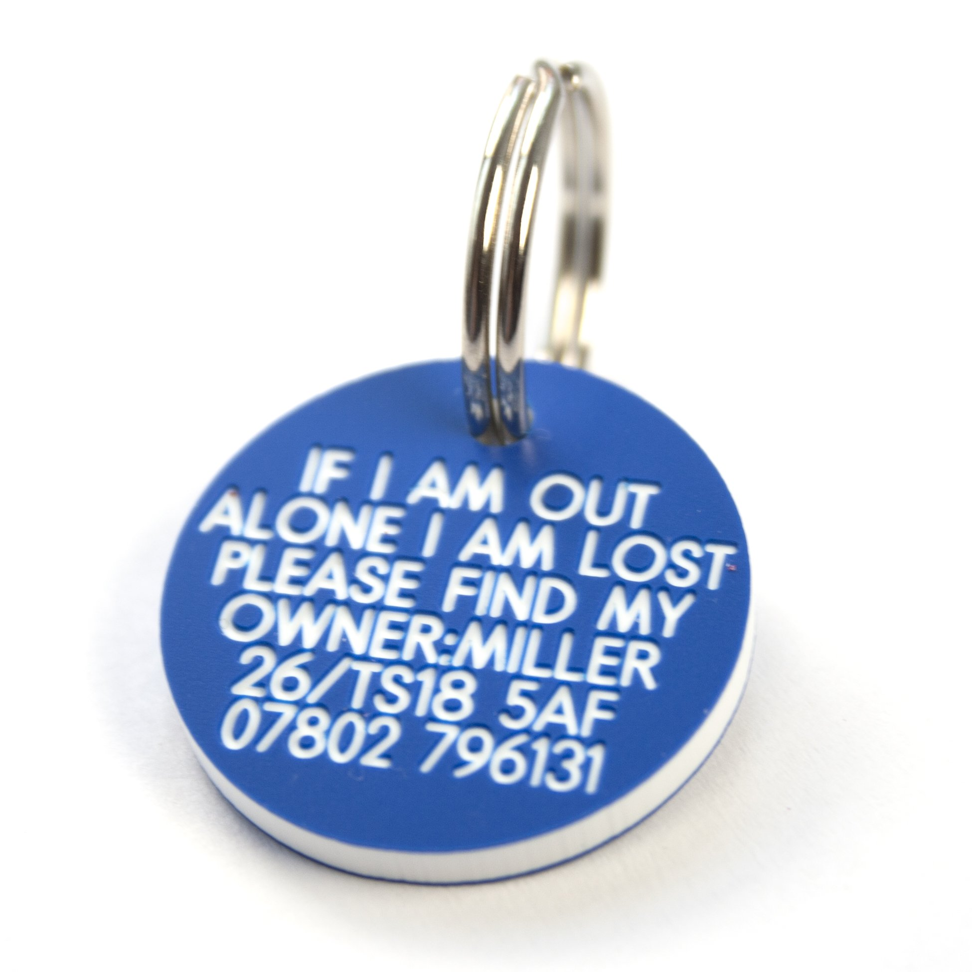 Engraving Studios Deeply engraved blue plastic 27mm circular dog tag