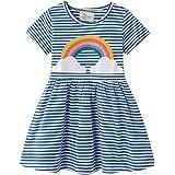 فستان صيفي ملون للأطفال الصغار من القطن بألوان قوس قزح بنمط شريط حيوانات من PopReal