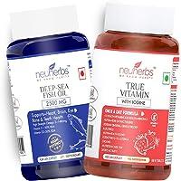 Neuherbs Daily Basic Supplements Combo (Deep Sea Omega 3 Fish Oil 2500mg 60 Soft-Gels + True-Vitamin (Essential…
