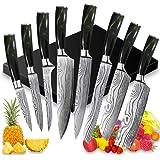 UniqueFire Set de Couteaux de Cuisine, Couteau de Chef, Couteau Japonais en Acier Inoxydable 5Cr15Mov Carbone, Lame de Coutea