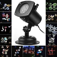 Weihnachten LED Effektlicht, LED Projektor Lichter mit 12 Motiven, dynamisch/statisch, 3 Stufen Geschwindigkeiten, innen/außen IP65