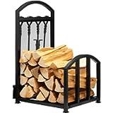 DOEWORKS Outdoor Indoor Log Rack Storage With 4 Firepit Tools Set, Heavy Duty iron Log Holder Fireside Firewood Storage…