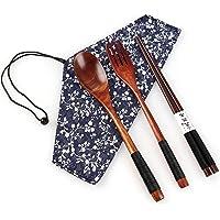 Ensemble de baguettes en bois avec fourchette, cuillère, fourchette de style japonais, baguettes de voyage avec pochette…