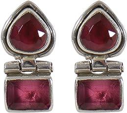 Silverwala 925 Sterling Silver Ruby Stone Stud Earring for Women and Girls Ruby Silver Stud Earring
