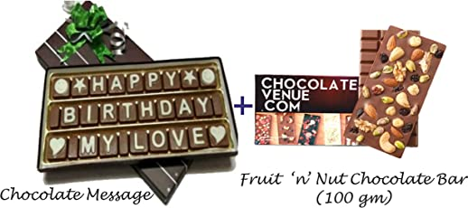 Happy Birthday My Love Chocolate Message with a Delectable Fruit and Nut Chocolate Bar
