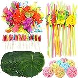 Phayee 108 delar Hawaii bordskjolar, festdekorationsset, med palmblad, blommor, färgglada paraplyer och 3D-fruktsugrör, för H