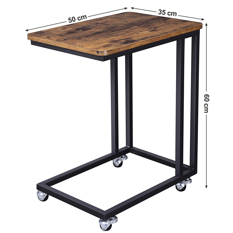 9675e10914 VASAGLE Tavolino da Letto con Ruote Industriale, Tavolino Mobile da  Salotto, Comodino, Carrello, Soggiorno Camera da Letto, Struttura in Ferro,  ...