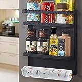 SaiXuan Etagère Réfrigérateur-Supports pour Papier Essuie,Pliable Etagère à épices magnétique de réfrigérateur mural multifon