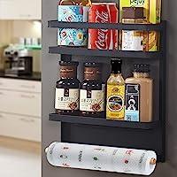 SaiXuan Etagère Réfrigérateur-Supports pour Papier Essuie,Pliable Etagère à épices magnétique de réfrigérateur mural…