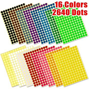 Sticky Color Coding Labels Removable Small Circle Dot