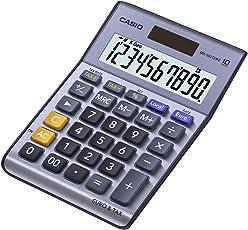 CASIO MS-100TER II Tischrechner kompakt mit Metallfront blau, 10-stelliges Display, Steuer-Berechnung, Euro-Umrechnung
