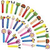Animali Segnalibro Coloratissimi 30 pezzi, Fumetto Colorati Carini Divertenti Bambini in Legno Idea con un Piccolo Metro, Leg