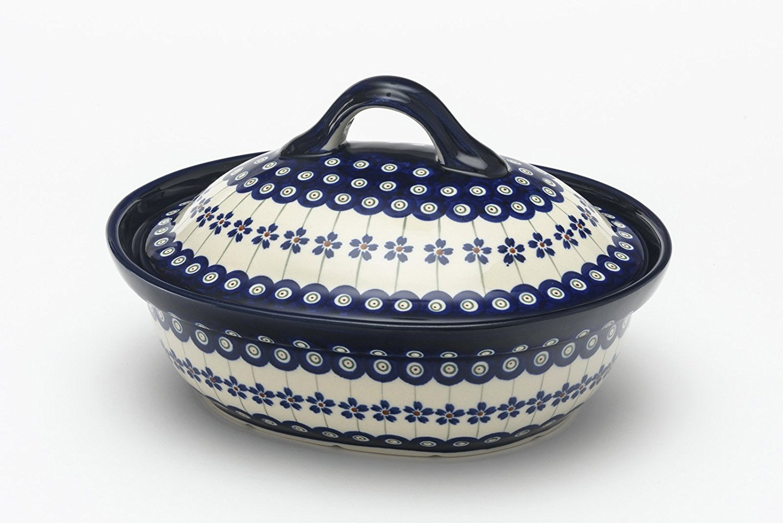Boleslawiec Pottery Casserole Dish 1.2L; hand made, pattern 166A