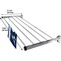 Homwell Stainless Steel Heavy Duty 5 Pipe X 3 Feet Wall Mounted Cloth Dryer Stand Foldable Hold N Dry